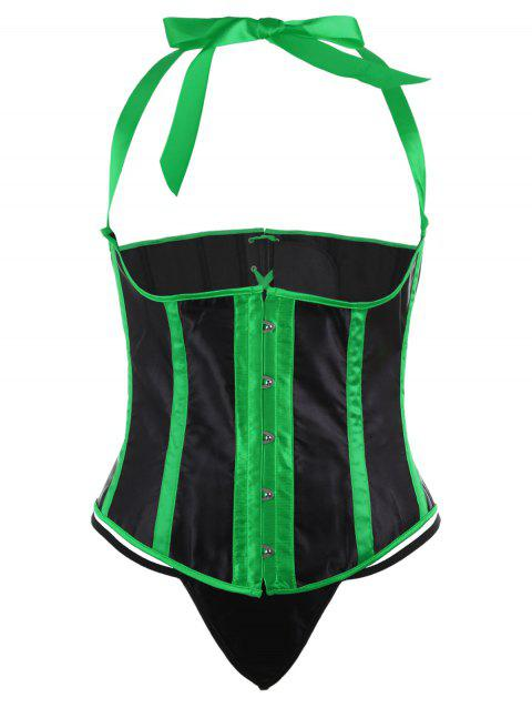 Halter Steel Boned Lace Up Plus Size Corset - GREEN 4XL