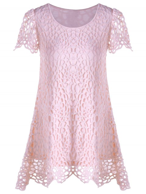 Overlay Asymmetrical Lace Panel T-shirt - PINK L