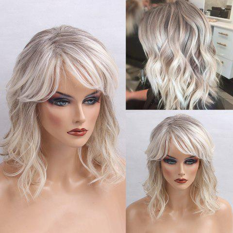 Medium Oblique Bang Colormix Shaggy Natural Wavy Human Hair Wig - COLORMIX