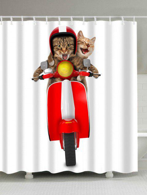 3D Cats Riding Motorcycle Shower Curtain