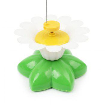 Electric Dancing Butterfly Around Flower Plastic Pet Cat Toy - GREEN