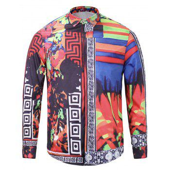Color Block Panel Floral Print Cover Placket Shirt