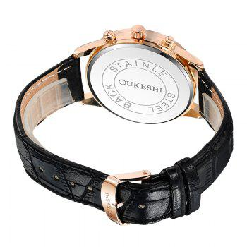 OUKESHI Faux Leather Band Quartz Tachymeter Watch -  BLACK