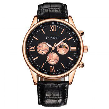 OUKESHI Faux Leather Band Quartz Tachymeter Watch - BLACK BLACK