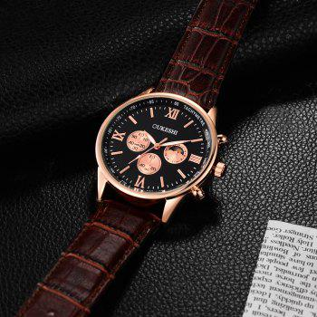 OUKESHI Faux Leather Band Quartz Tachymeter Watch -  BLACK/BROWN