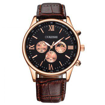 OUKESHI Faux Leather Band Quartz Tachymeter Watch - BLACK AND BROWN BLACK/BROWN