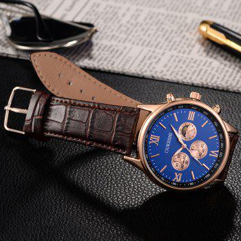 OUKESHI Faux Leather Band Quartz Tachymeter Watch - BLUE / BROWN
