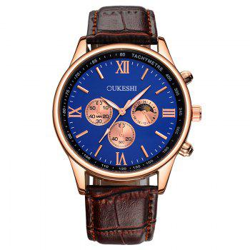 OUKESHI Faux Leather Band Quartz Tachymeter Watch - BLUE + BROWN BLUE / BROWN