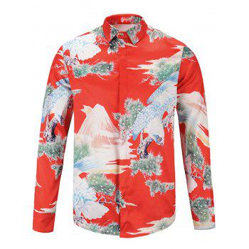 3D Japanese Style Eagle Print Cover Placket Shirt