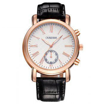 OUKESHI Faux Leather Roman Numeral Formal Watch - BLACK BLACK