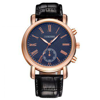 OUKESHI Faux Leather Roman Numeral Formal Watch - BLUE AND BLACK BLUE/BLACK