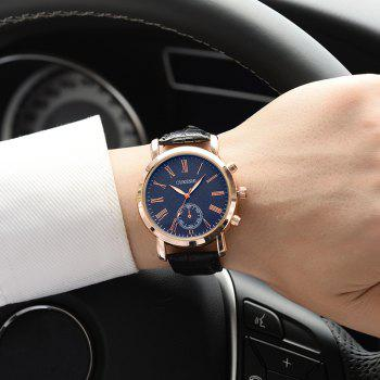 OUKESHI Faux Leather Roman Numeral Formal Watch -  BLUE/BLACK