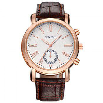 OUKESHI Faux Leather Roman Numeral Formal Watch - BROWN BROWN