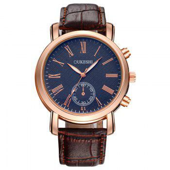 OUKESHI Faux Leather Roman Numeral Formal Watch - BLUE + BROWN BLUE / BROWN