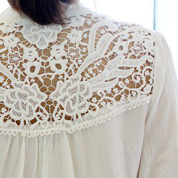 Half Sleeve Lace Splicing Blouse - BLACK ONE SIZE