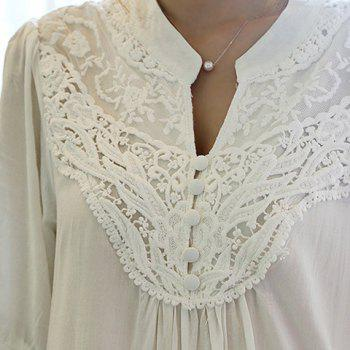 Half Sleeve Lace Splicing Blouse - ONE SIZE ONE SIZE