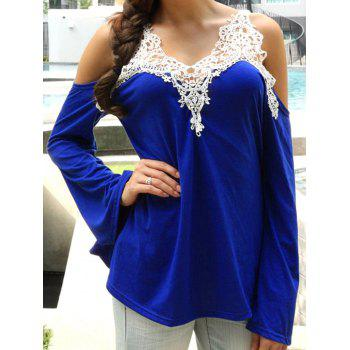 Cold Shoulder Color Block Lace Splicing T-Shirt - SAPPHIRE BLUE XL