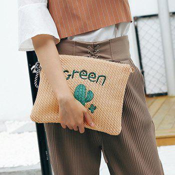 Embellished Woven Straw Crossbody Bag -  GREEN