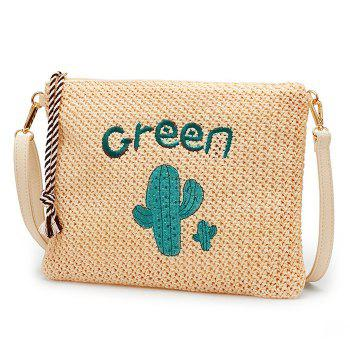 Embellished Woven Straw Crossbody Bag - GREEN GREEN