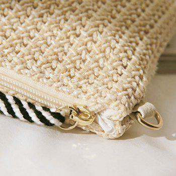 Embellished Woven Straw Crossbody Bag - multicolor