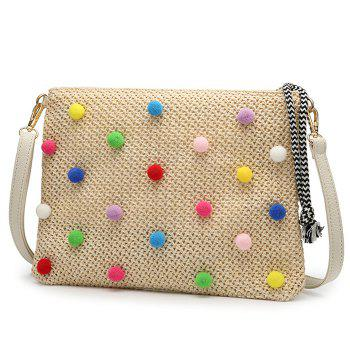 Embellished Woven Straw Crossbody Bag