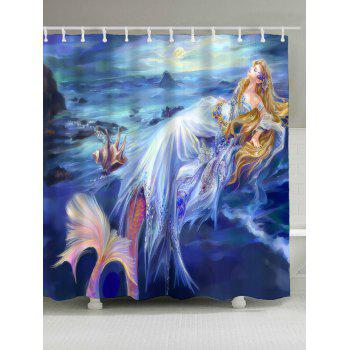 Waterproof Mermaid Pattern Shower Curtain