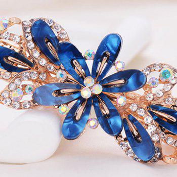 Faux Crystal Flower Alloy Hollow Out Barrette - BLUE