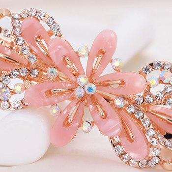 Faux Crystal Flower Alloy Hollow Out Barrette - Rose Clair