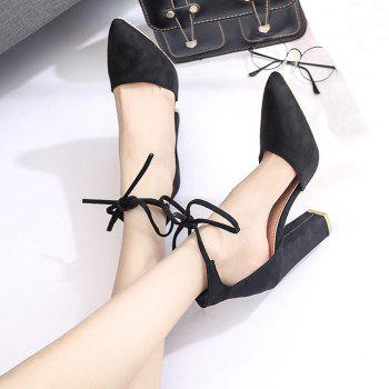 Chunky Heel Pointed Toe Ankle Lace Pumps - BLACK 41