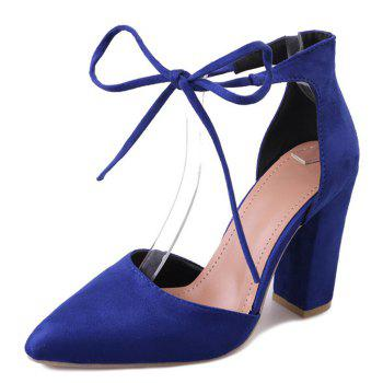 Chunky Heel Pointed Toe Ankle Lace Pumps - BLUE 37