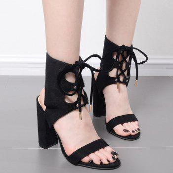 Tie Up Chunky Heel Slingback Sandals