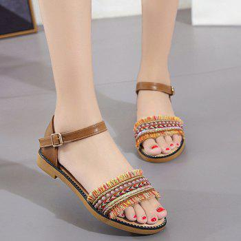 Exotic Fringed Beaded Flat Sandals
