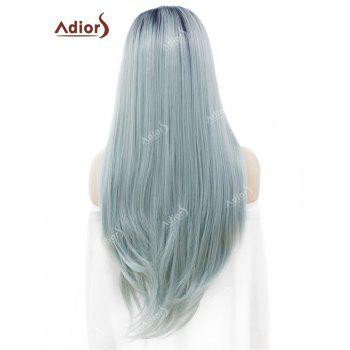 Adiors Long Free Part Straight Ombre Lace Front Synthetic Wig - LIGHT BLUE