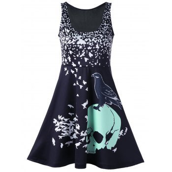 Skull Bird Print Mini Tank Dress