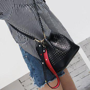 Cut Out Bucket Bag with Wide Strap -  BLACK