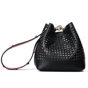 Cut Out Bucket Bag with Wide Strap - BLACK BLACK