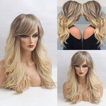 Long Inclined Bang Shaggy Colormix Slightly Curly Human Hair Wig - COLORMIX COLORMIX