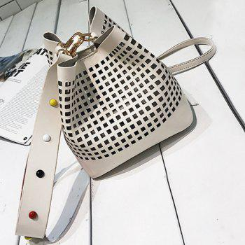 Cut Out Bucket Bag with Wide Strap -  WHITE