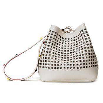 Cut Out Bucket Bag with Wide Strap - WHITE WHITE