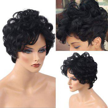 Short Inclined Bang Shaggy Layered Curly Human Hair Wig - JET BLACK #01 JET BLACK