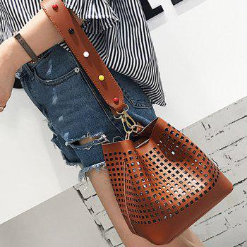 Cut Out Bucket Bag with Wide Strap -  BROWN