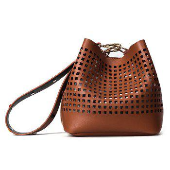 Cut Out Bucket Bag with Wide Strap - BROWN BROWN