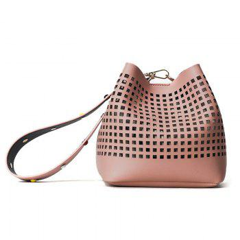 Cut Out Bucket Bag with Wide Strap - PINK PINK