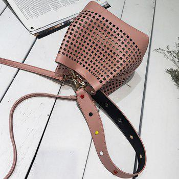 Cut Out Bucket Bag with Wide Strap -  PINK