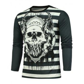 Striped Skull Printed T-shirt