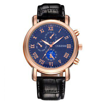 OUKESHI Roman Numeral Faux Leather Watch - BLUE AND BLACK BLUE/BLACK