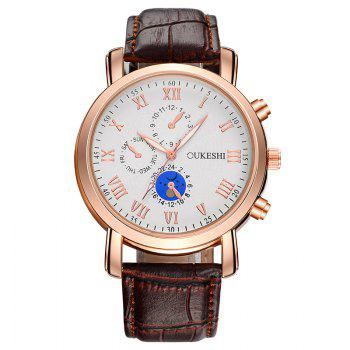 OUKESHI Roman Numeral Faux Leather Watch - BROWN BROWN