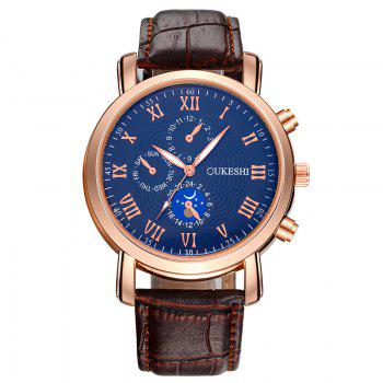 OUKESHI Roman Numeral Faux Leather Watch - BLUE + BROWN BLUE / BROWN