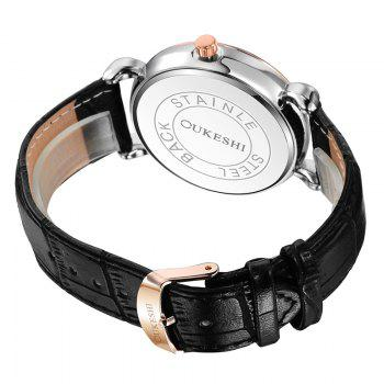 OUKESHI Number Date Faux Leather Watch -  BLACK