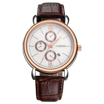 OUKESHI Number Date Faux Leather Watch - BROWN BROWN